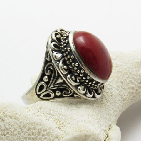 Ornate Sterling Ring Red Stone Statement Ring