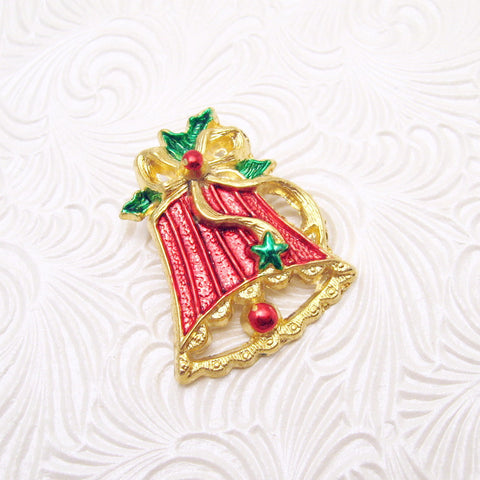 Christmas Bell Brooch Metallic Enamel Vintage Jewelry
