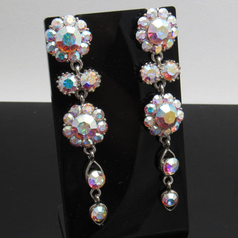 Long Rhinestone Earrings Flower Bridal Jewelry