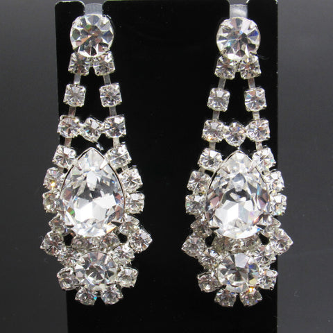 Long Rhinestone Earrings Bridal Jewelry