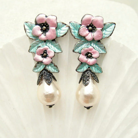 pink flower and pearl earrings