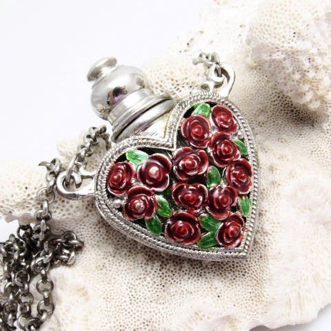 Rose Heart Perfume Bottle Pendant Necklace