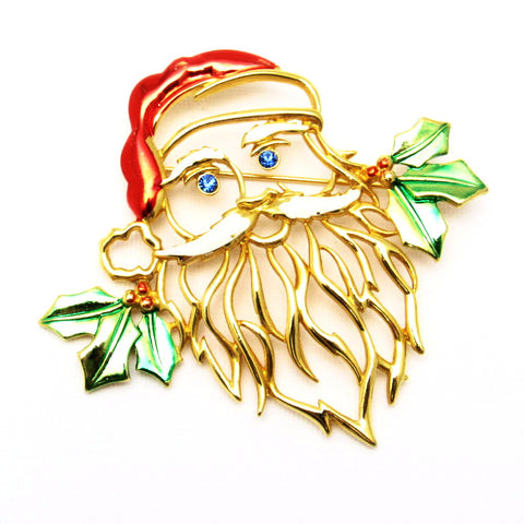 Large Santa Brooch Whimsical JJ Christmas Jewelry