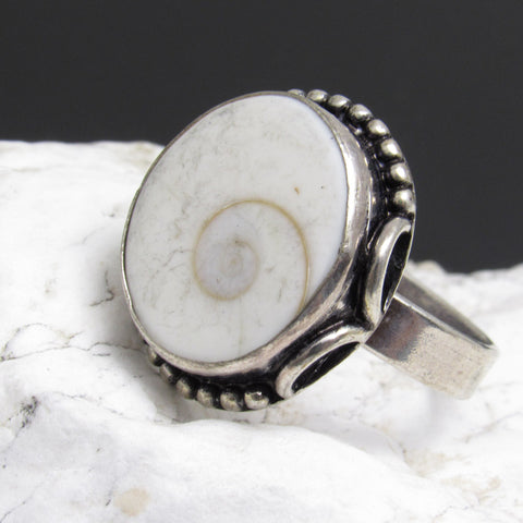 Sterling Shiva Shell Ring White Jewelry