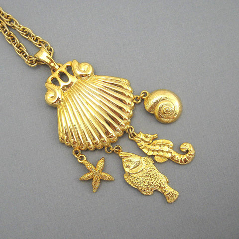 Long Shell Charm Necklace Seahorse Starfish