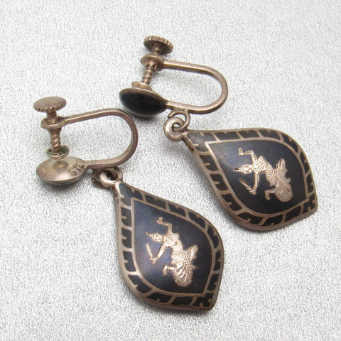 Vintage Siam Sterling Earrings Dangly Niello Jewelry