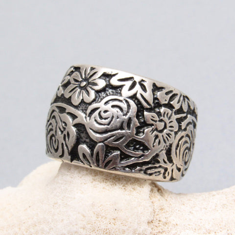 Silpada Sterling Flower Ring Band Flower Cuff Ring