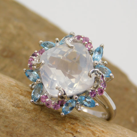 Sterling Pastel CZ Ring for Spring and Summer