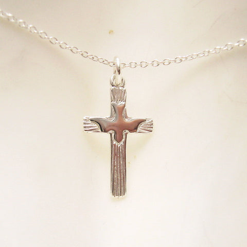 small sterling cross necklace with dove