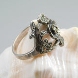Sterling Marcasite Flower Ring