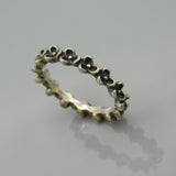 Pandora Sterling Stacking Rings Flower  Ring and Bead Band Size 6