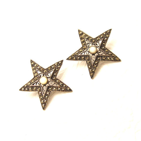 sterling marcasite star earrings