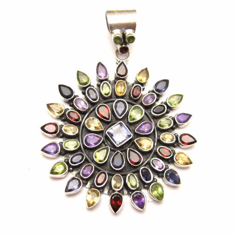 Huge sterling gemstone pendant