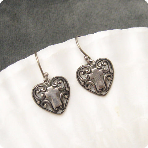 Sterling Heart Cross Earrings