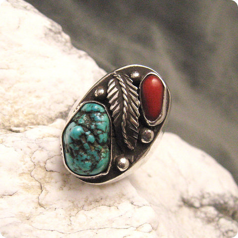 Vintage Sterling Coral Turquoise Ring 1