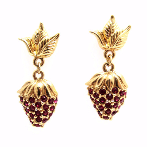 Dangly Rhinestone Strawberry Earrings Avon
