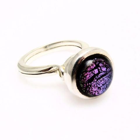 Tall Sterling Ring Purple Black Foil Glass Stone