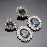 Blue Sapphire Earrings Rhinestone Jewelry