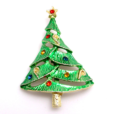 Vintage Christmas Tree Pin with Candy Canes Holiday Jewelry  Apps   Save