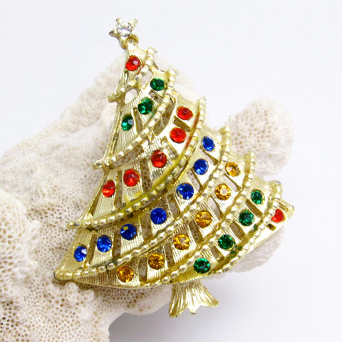 Christmas Tree Brooch Wide Vintage Holiday Jewelry