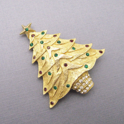 Vintage Christmas Tree Brooch Rhinestone Jewelry