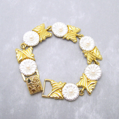 Two Tone Pearl Bracelet Costume Jewelry Signed A Co