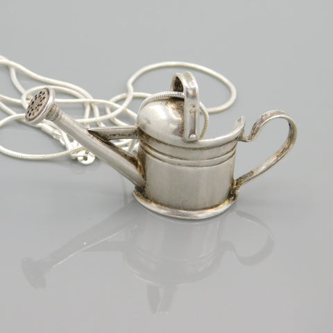 Large Sterling Watering Can Pitcher Pendant Necklace Gardener Gift