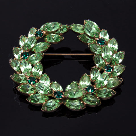 Vintage Rhinestone Laurel Wreath Brooch Green Jewelry