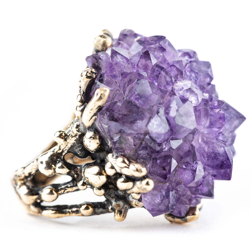 Amethyst Druzy Statement Ring - Unique Piece - Giardinoblu Jewellery Milan