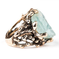 Rough Aquamarine Ring - One of a kind Statement - Giardinoblu Jewellery Milan