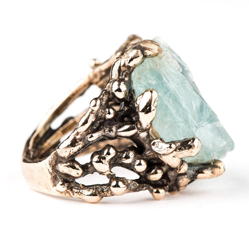 Raw Aquamarine Ring - One of a kind Statement - Giardinoblu Jewellery Milan