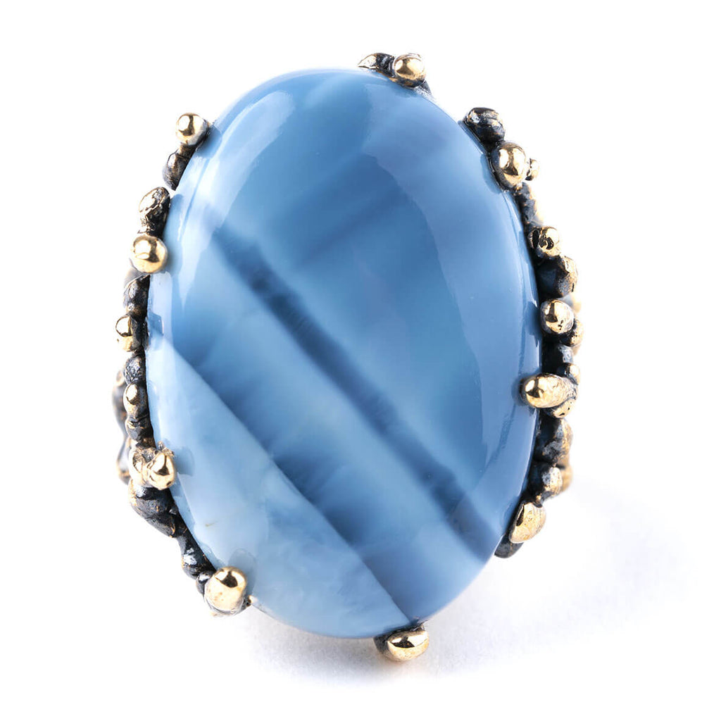 Blue Opal Statement Ring - Unique Piece