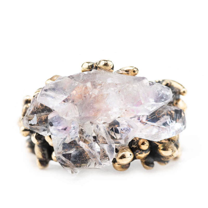 Elestial Rose Quartz Ring - Unique Piece - Giardinoblu Jewellery Milan