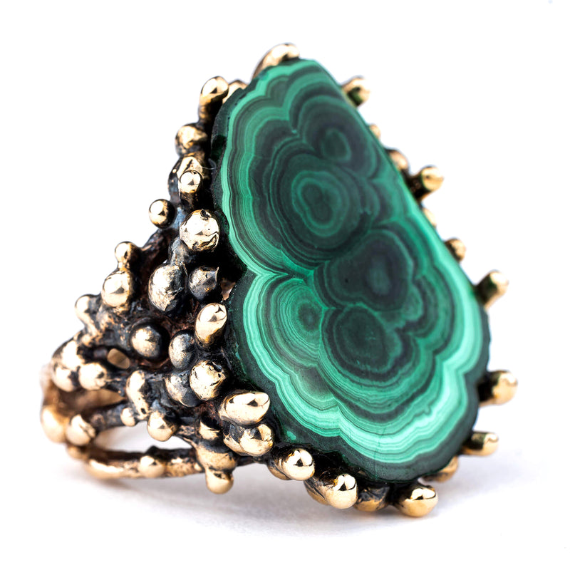 Malachite Ring - Unique Piece Statement