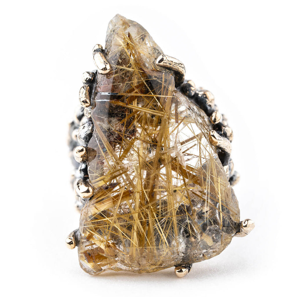 Rutilated Quartz Ring - Unique Piece