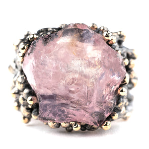 Rose Quartz Statement Ring - Unique Piece