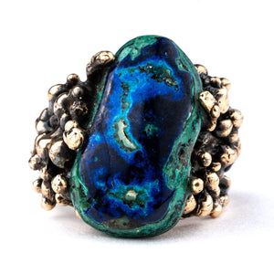 Azurite Malachite Chrysocolla Statement Ring - Unique Piece - Giardinoblu Jewellery Milan