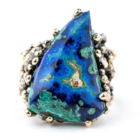 Azurite Malachite Chrysocolla Statement Ring - Unique Piece