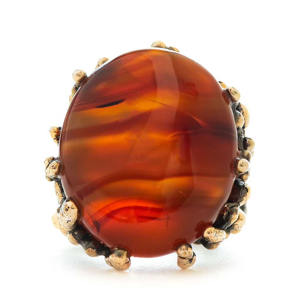 Carnelian Statement Ring - One Of A Kind - Giardinoblu Jewellery Milan