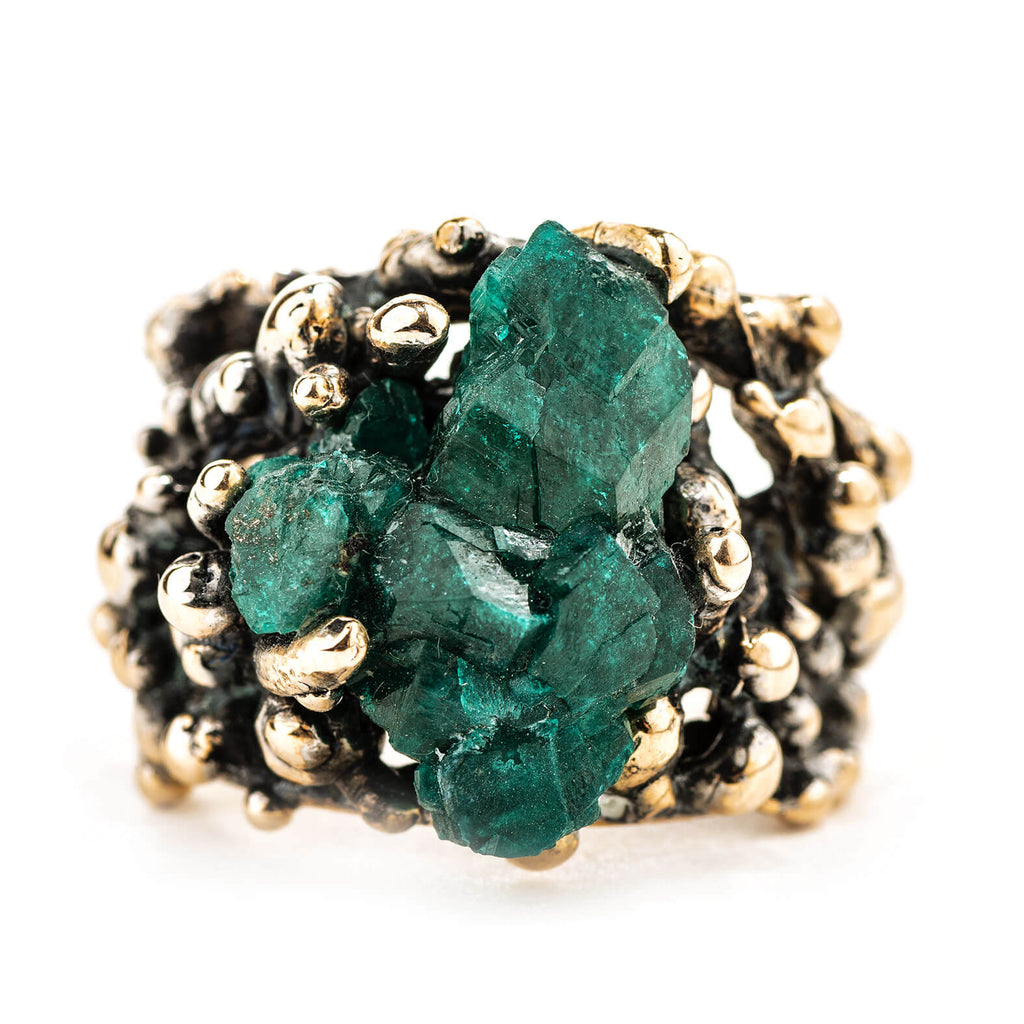 Dioptase Statement Ring - Unique piece - Giardinoblu Jewellery Milan