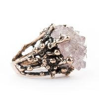 Elestial Rose Quartz Ring - One of a Kind - Giardinoblu Jewellery Milan