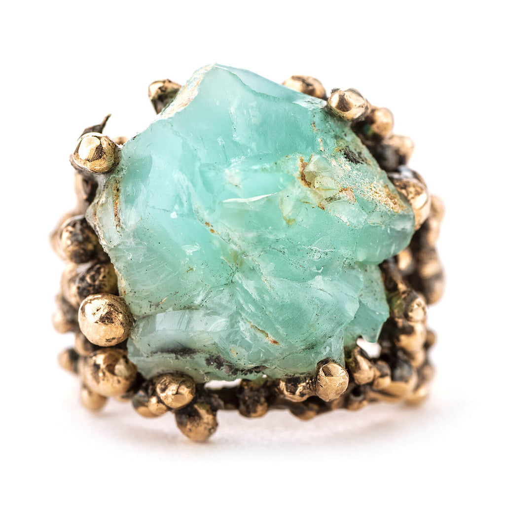 Chrysocolla Silica Gem Statement Ring - Unique Piece - Giardinoblu Jewellery Milan