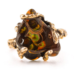Fire Agate Gemstone Ring - One of a kind - Giardinoblu Jewellery Milan