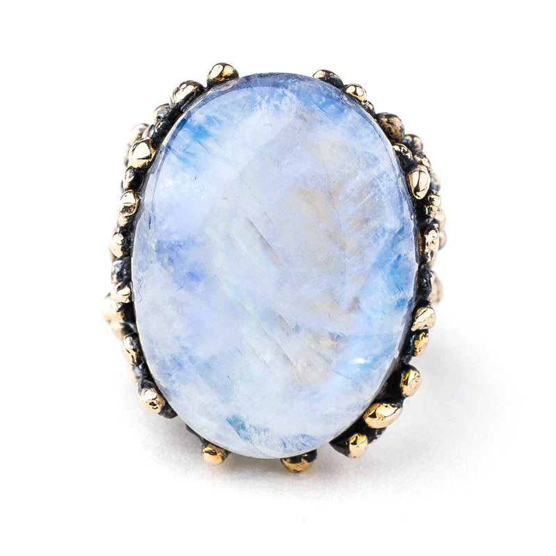 Rainbow Moonstone Ring (White Labradorite) - One of a Kind