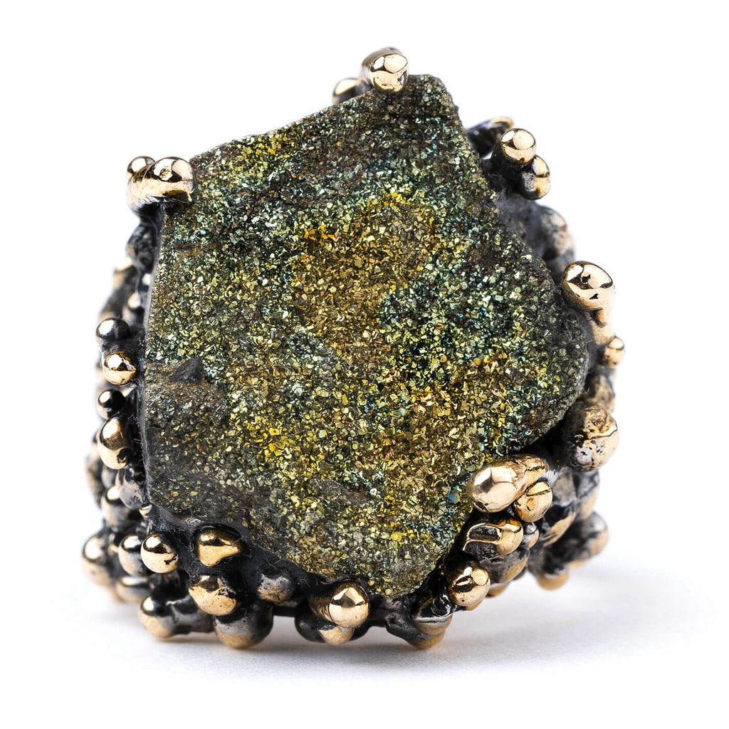 Rainbow Pyrite Ring - Gemstone healing jewelry by Giardinoblu