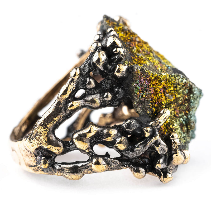 Rainbow Pyrite Ring - Unique healing jewelry by Giardinoblu