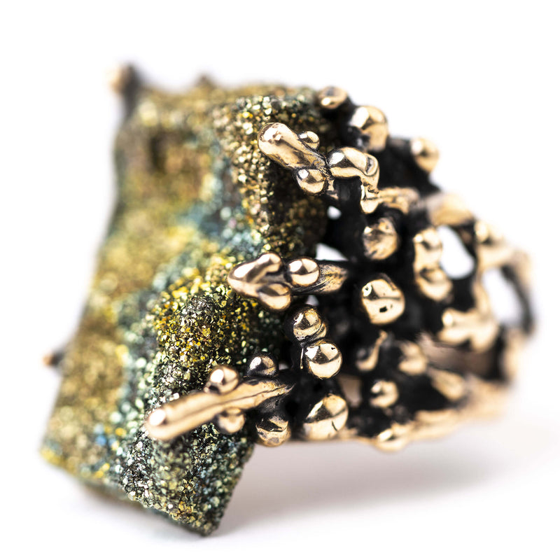 Rainbow Pyrite Ring - One of a kind