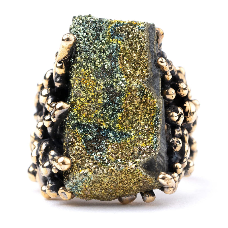 Rainbow Pyrite Ring - Unique Gemstone healing jewelry by Giardinoblu