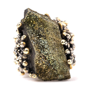 Rainbow Pyrite Ring - Unique Piece