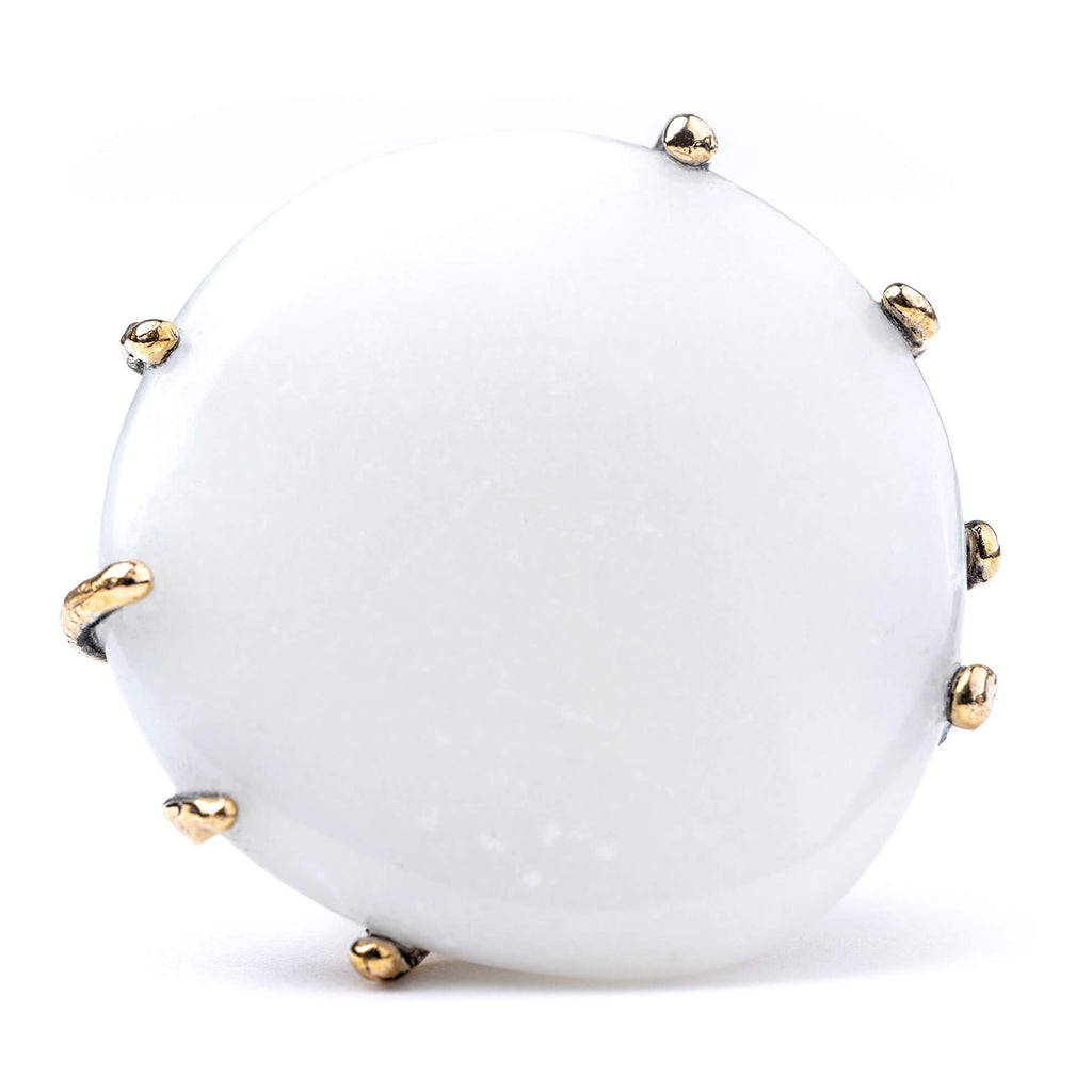 White Jade Statement Ring - One Of a Kind